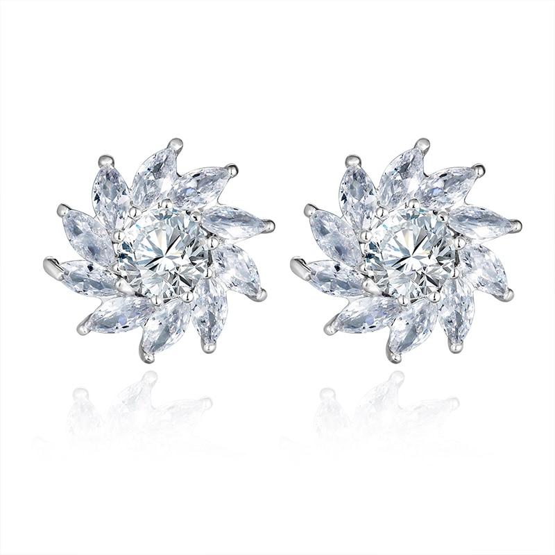 Unisex New Fashion Elegant Zircon Earrings White Crystal Wedding Stud Ear Ornament Bridal Jewelry Accessories Christmas Gifts Stud Earrings Aliexpress