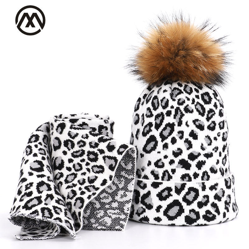 2019 Raccoon Fur Woman Hat Scarf Two-piece Leopard Winter Warm Padded Headgear Fashion Outdoor Casual Beanie Mask Hedging Cap
