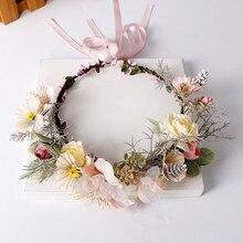 Venda quente 1 pçs delicada noiva guirlanda mão-tecido de pano flor cabelo hoop para mulheres meninas casamento headwear acessórios para o cabelo