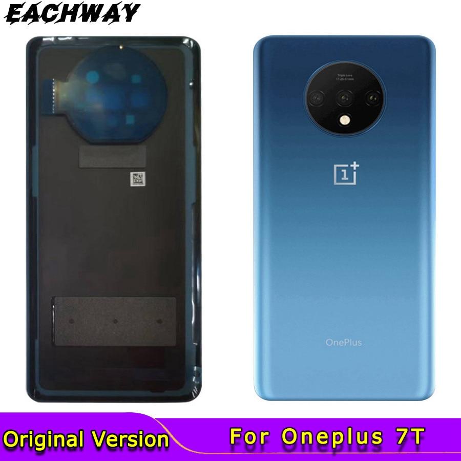 Оригинальное заднее стекло для Oneplus 7T, задняя крышка корпуса, сменная задняя крышка батарейного отсека для Oneplus 1 + 7T с объективом камеры