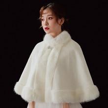 Women Faux Fur Wedding Bridal Cloak Winter Warm Evening Party Cape Bridesmaid Prom Bolero Jacket Mandarin Collar Coat Ivory Red