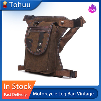 Motorcycle Leg Bag Vintage Multi-pocket Waist Pack Canvas Wear Resistant Bag For Mens Travel Climbing Riding Cycling