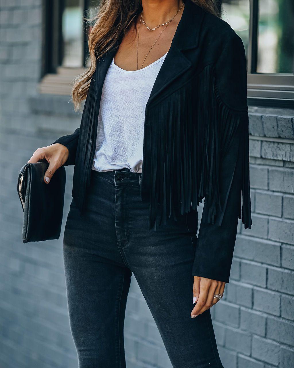 H28f3d022dea941d98c6c88736bf231e9s Fringed Bomber Jacket Women Spring Fashion Long Sleeve Turn-down Collar Open Stitch Slim Jackets