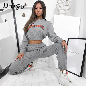 Darlingaga Casual Loose Tracksuit for Women Two Piece Set Crop Top Hoodie and Pants Letter Print Matching Sets Outfits Workout