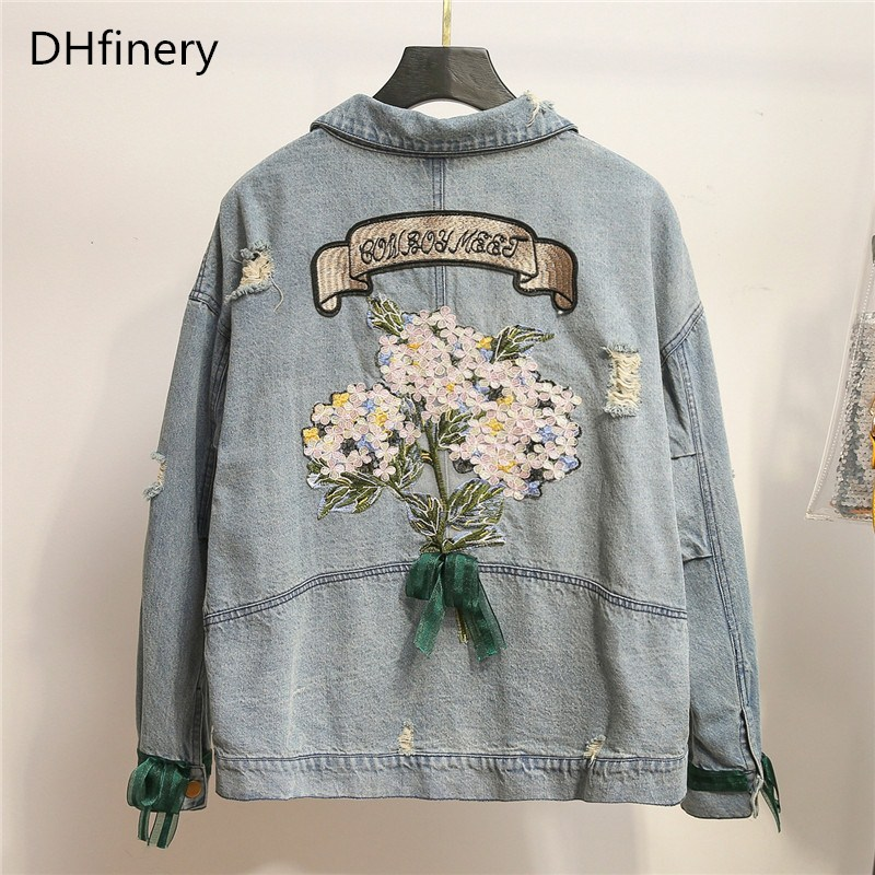 DHfinery Women Denim Jacket Spring Autumn Blue Cotton Embroidered Flower Denim Jackets For Bust 115-139CM Plus Size XL-4XL B1692