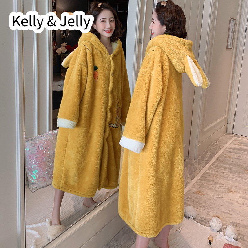 New fw2019 plush hooded nightgown for ladies winter thickened lovely radish gown