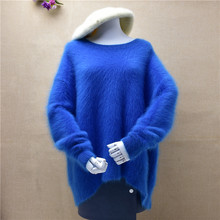 top mujer female hairy mink cashmere knitted loose long sleeved pullover knitwear inside winter angora fur jumper sweater tops(China)