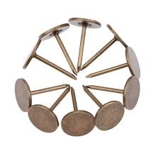 100pcs Flat Upholstery Nails Sofa Studs Pins Tacks Antique Bronze Iron Vintage Jewelry Wooden Box 11mm*17mm Furniture Hardware