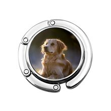 NOISYDESIGNS Golden Retriever Printing Portable Handbag Hook Folding Bag Desk Hanger Multiple Bag Desk Hanger Foldable Purse Bag