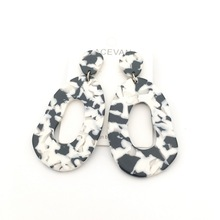 black white acrylic earring Bohemian earrings acetate tortoise shell geometric  Jewelry