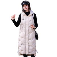 Vest women autumn winter parka cotton padded hooded zipper embroidery sleeveless long Jacket Waistcoat female plus size