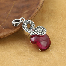 925 Sterling Silver Jewelry Retro Thai Silver Men And Women Popular Marcasite Red Corundum Small Elephant Pendant Accessories fnj 925 sterling silver bracelets natural yellow green stone synthetic blue red corundum 17 3cm s925 thai silver chain bracelet