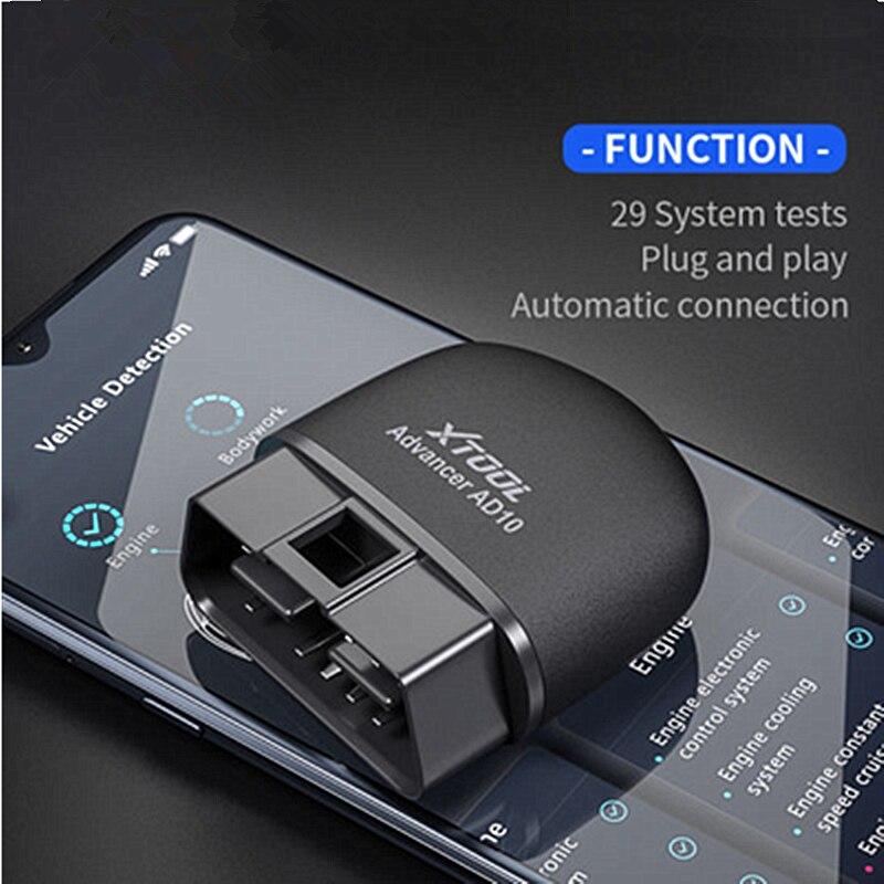 Диагностический сканер XTOOL AD10 OBD2, ELM 327 считыватель кодов для Android с функцией HUD, онлайн-проектор, автоматический сканер