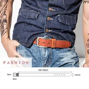 Image 5 - Men Belt Top Layer Leather Casual Belts Vintage Handmade Design Pin Buckle Genuine Leather Belts Male Waistband