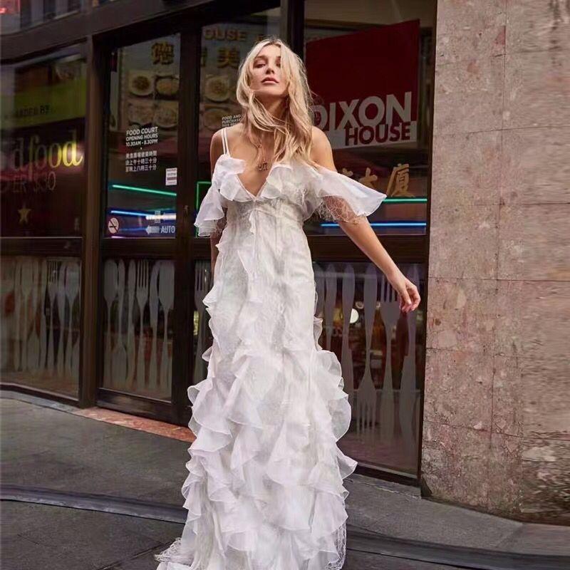 New Boutique Women Midi Long Dress Sexy V-neck Ruffles Patchwork Lace Dresses Feminine Sashes Bow Party Sundress Chic Vestidos