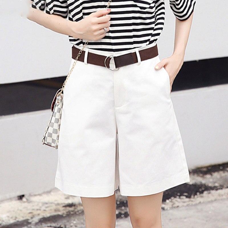 Women Loose Wide Leg Pantalon Femme Belt Green White High Waist Shorts Korean Fashion Casual Summer Shorts  Female S-XXL