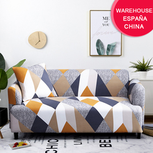 Coolazy Stretch Plaid Sofa Slipcover Elastic Sofa Covers for Living Room funda sofa Chair Couch Cover Home Decor 1 2 3 4-seater cheap CN(Origin) 90-140cm 145-185cm 195-230cm 235-300cm PRINTED Modern GEOMETRIC Three-seat Sofa 100 Polyester 32 colors 600-1200g