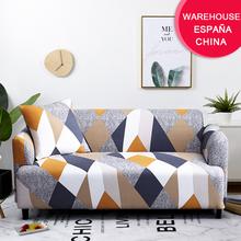 Coolazy Stretch Sofa w kratę narzuty elastyczne pokrowce na sofy do salonu funda Sofa krzesło narzuta na sofę Home Decor 1 2 3 4-seater tanie tanio CN (pochodzenie) 90-140cm 145-185cm 195-230cm 235-300cm sofa cover Rozkładana okładka PRINTED Nowoczesne GEOMETRIC Trzy-seat sofa