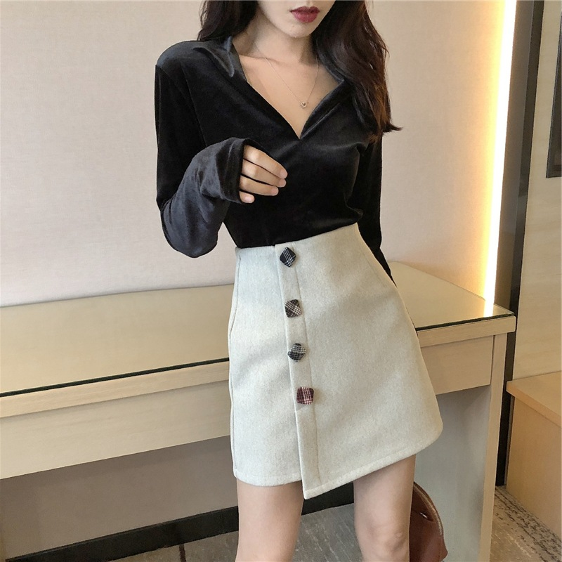 2019 Autumn And Winter New Style Korean-style Skirt Women's High-waisted Slimming A- Line Skirt Fashion Network Red Retro Skirt