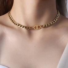 Moda kubański Choker naszyjnik złoty kolor gruby łańcuch naszyjnik tytanu stali masywne naszyjniki DD list kobiety wisiorek biżuteria