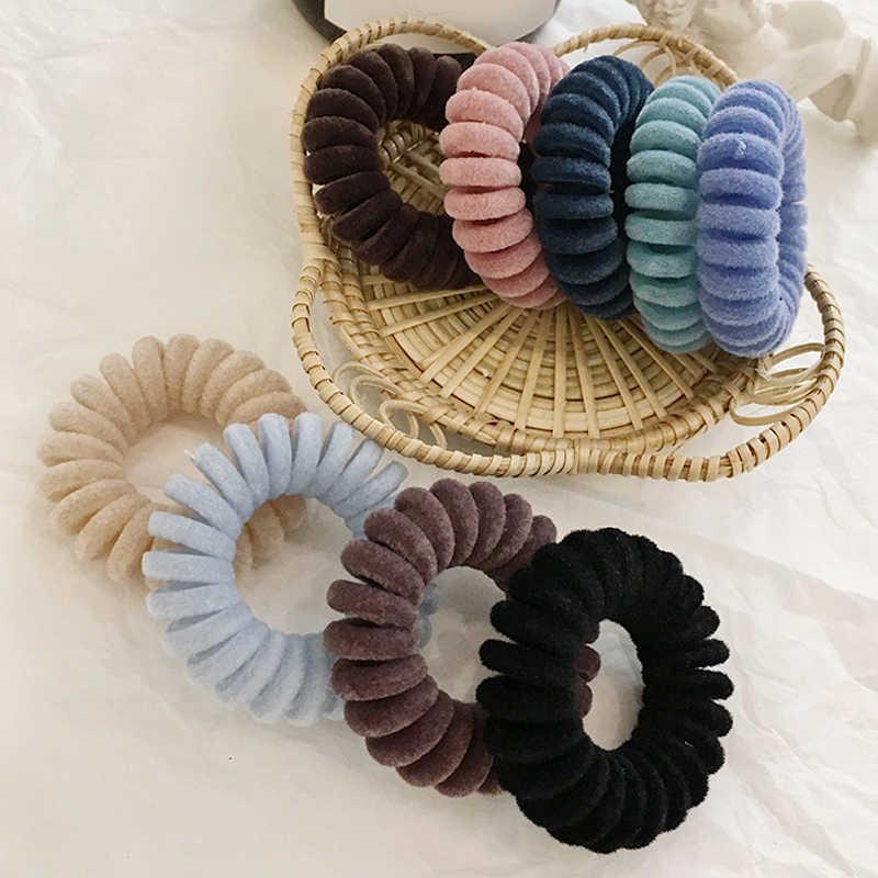 1 Pza bandas elásticas para el cabello terciopelo forma espiral soportes de cola de caballo lazos de goma para el pelo banda de goma cuerda para el cabello cable de teléfono accesorios para el cabello