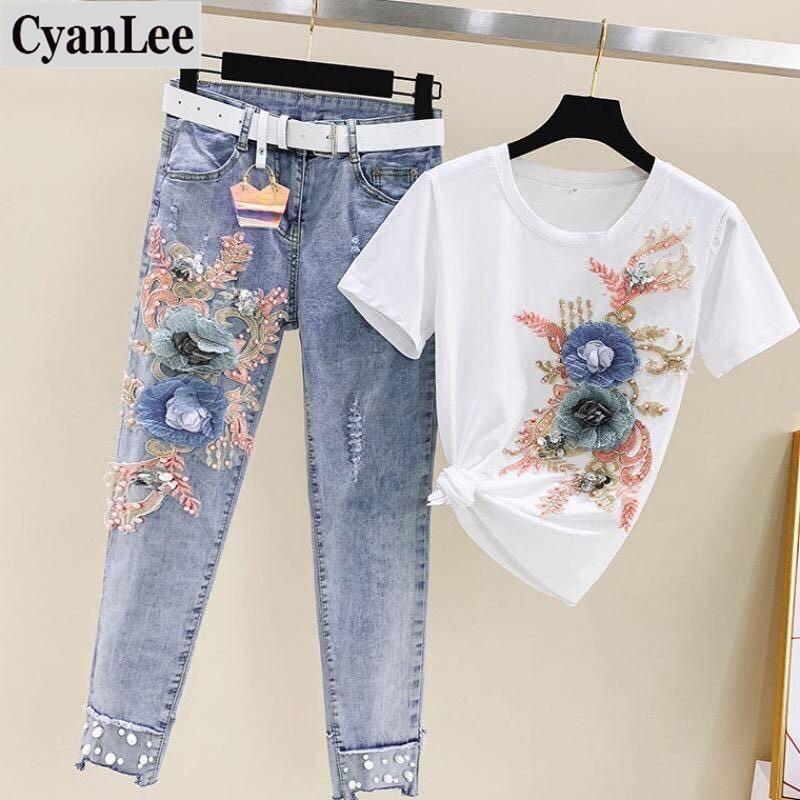 Plus Size 2 Piece Set Women Heavy Work Embroidery 3D Flower Tshirts + Jeans 2 Pcs Clothing Sets Casual Denims 2 Pcs Suits Sets