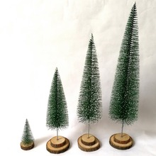 Artificial Three-dimensional Christmas Tree With Wooden Base Ornaments Props Desktop Decor Supplies
