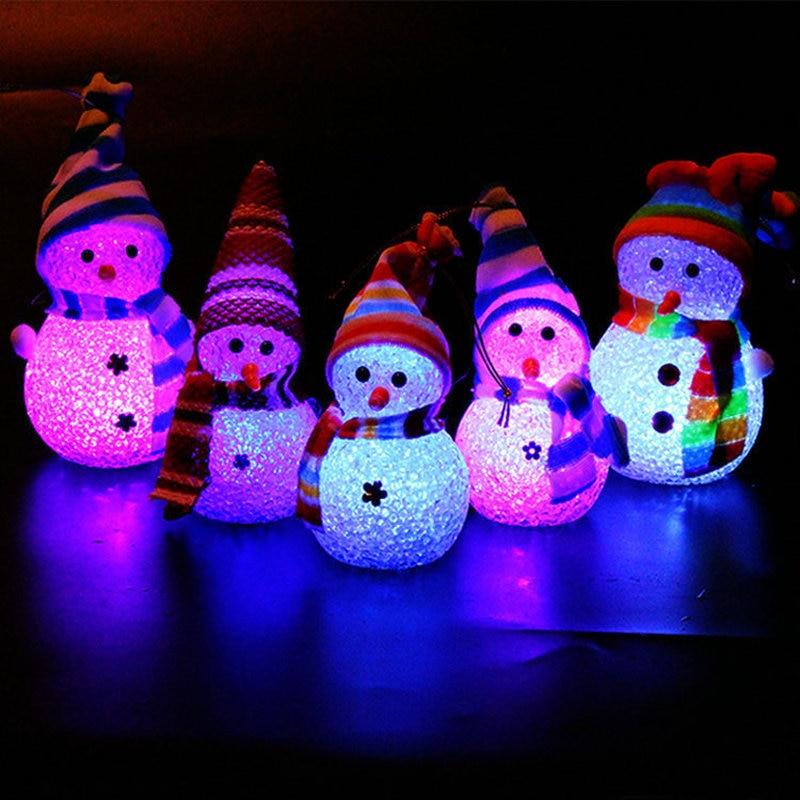3pcs Christmas Decorations Children Gifts Christmas Tree Decorations  Gifts Christmas Snowman Doll  Random Color Night Light