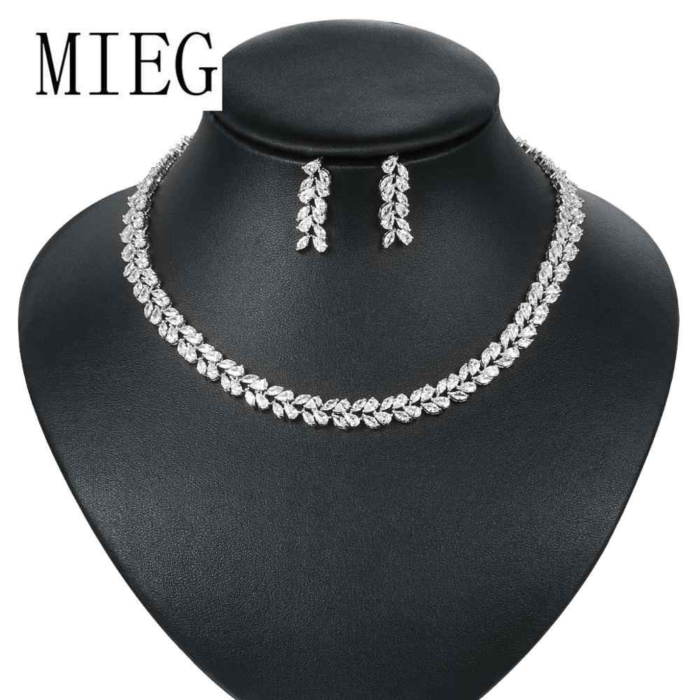 MIEG Marquise Leaf Cubic Zirconia Tennis Necklace and Earring Bridal Jewelry Set for Wedding Party