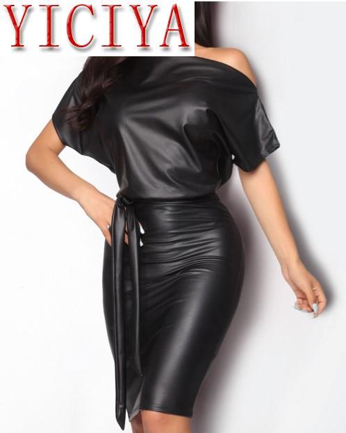 Women PU Leather Mini Dress