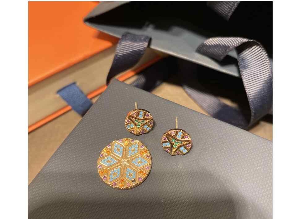 צבעוני שבטי עגול עגילי להסרה שני לובש זהב צהוב דגם גיאומטרי צבעוני פסים גיאומטרי עגילים