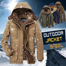 Мужская зимняя куртка на флисовой подкладке, Новая повседневная длинная куртка, Мужская ветровка, теплое толстое пальто, искусственная пар...