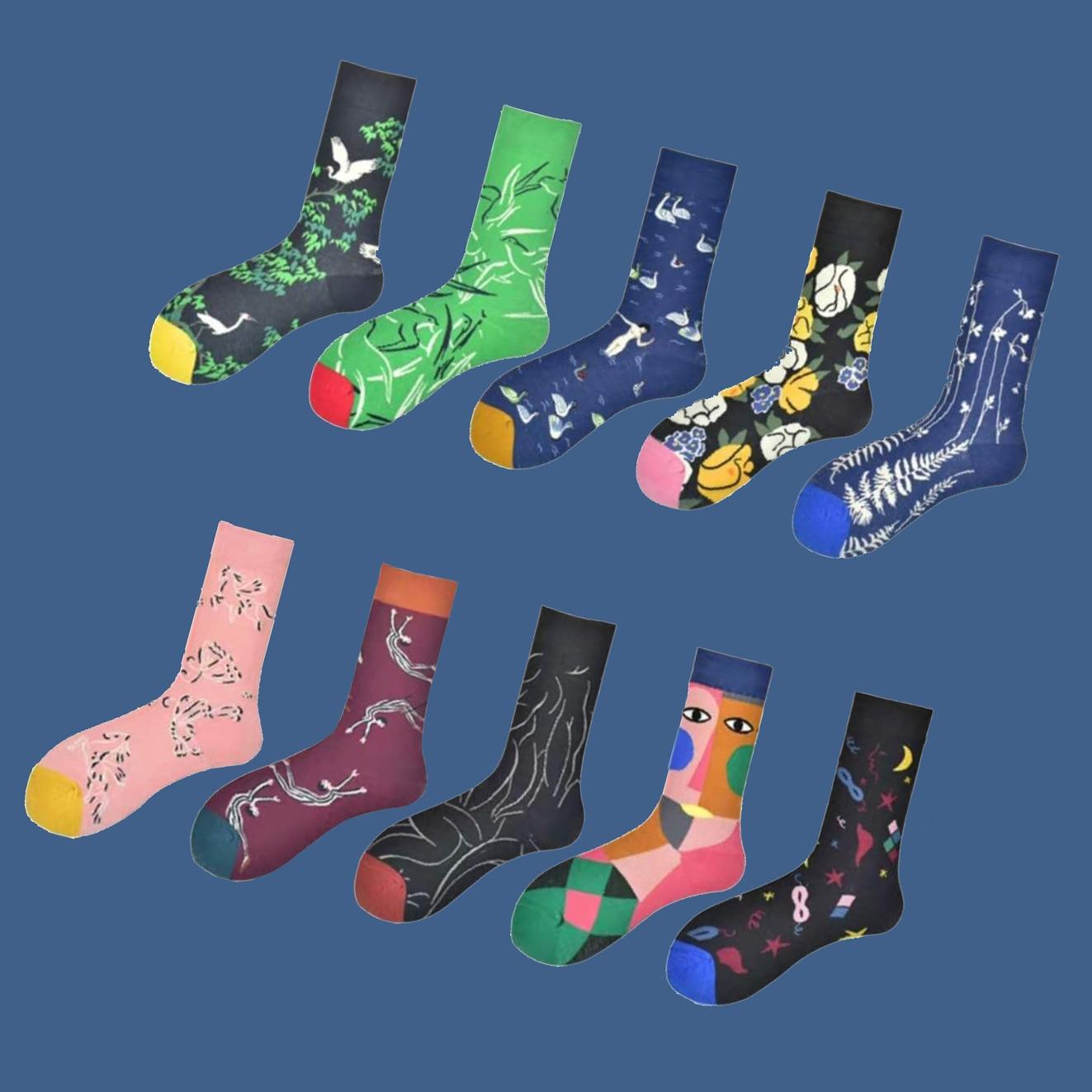 1 Pair Crew Socks Mid Length Unisex Funny Cute Socks Gift Casual Street Wear Creative Cartoon Socks Funny Painting Socks Sweet