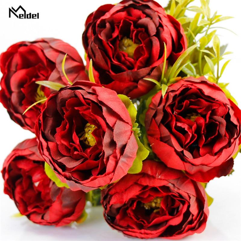 6 Heads Big Silk Peonie Flowers Bouquet Artificial Flowers Peony Bridal Bouquet Wedding Decor For Home Garden Hotel Faux Flores