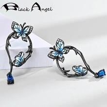 Женские серьги гвоздики с двумя летящими бабочками серебро 925