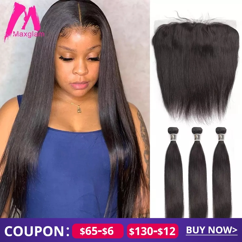 Human Hair Bundles With Frontal Straight Natural Brazillian Hair Extension Weave Preplucked Short Remy For Black Women 3 Bundles