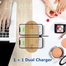 Dwu w jednym drewniana bezprzewodowa ładowarka szybkie ładowanie dla Apple iPhone 8 Plus X bezprzewodowa ładowarka do telefonu Samsung S6 S7 S9 S8