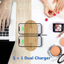two in one wooden wireless charger Fast charging For Apple iPhone 8 Plus X Wireless Phone Charger For Samsung S6 S7 S9 S8