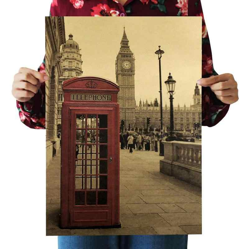 Poster decorative wall sticker London red phone booth nostalgic vintage kraft poster indoor bar cafe decoration painting
