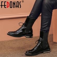 FEDONAS Punk kadınlar yarım çizmeler sonbahar kış sıcak hakiki deri yüksek topuklu gece kulübü ayakkabı kadın çapraz bağlı motosiklet çizmeler