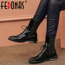 FEDONAS 펑크 여성 발목 부츠 가을 겨울 따뜻한 정품 가죽 하이힐 나이트 클럽 신발 여성 크로스 오토바이 부츠 묶여