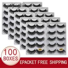 LANJINGLIN 도매 대량 10/100 상자 밍크 속눈썹 5 쌍 자연 긴 거짓 속눈썹 3d 속눈썹 책 솜털 cilios 가짜 cils