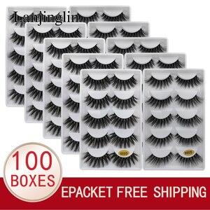 Image 1 - LANJINGLIN – Faux cils en vison naturel, effet 3D, 5 paires, 10/100 boîtes, extensions longues, vente en volume