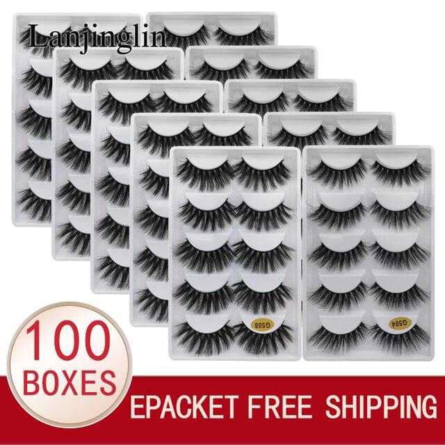 LANJINGLIN – Faux cils en vison naturel, effet 3D, 5 paires, 10/100 boîtes, extensions longues, vente en volume