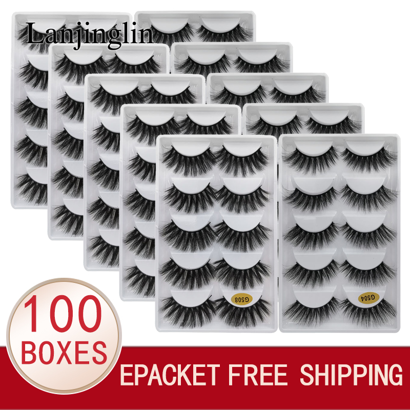 LANJINGLIN Wholesale Bulk 10/100 Boxes Mink Eyelashes 5 Pairs Natural Long False Eyelash 3d Lash Book Fluffy Cilios Faux Cils