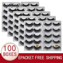 LANJINGLIN wholesale bulk 10/100 boxes mink eyelashes 5 pairs natural long false eyelash 3d lash book fluffy cilios faux cils