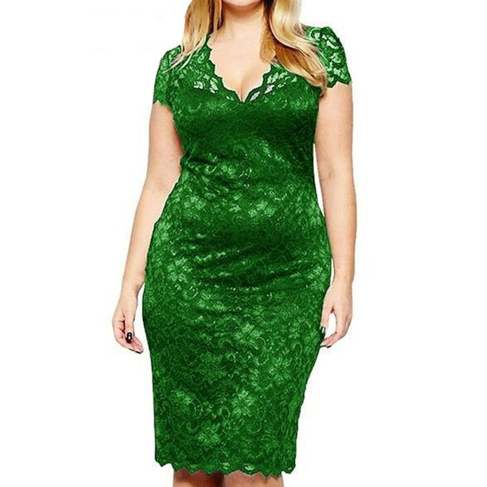 Summer Women Plus Size Floral Dress 3XL 4XL Flower Printed V Neck - plus-size-dresses