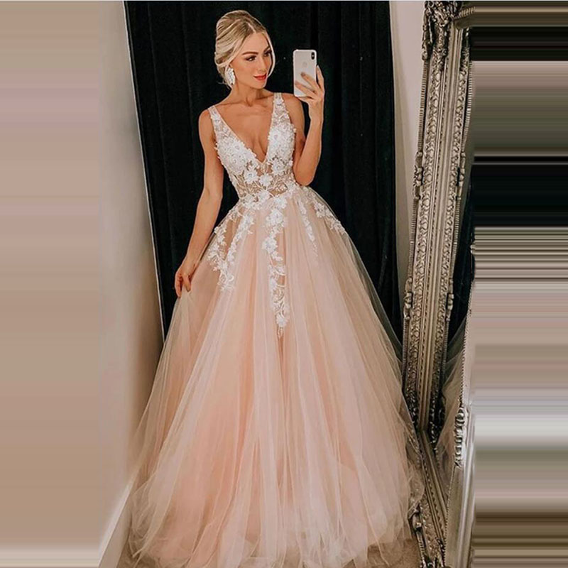 Sexy V Neck Tulle Prom Dresses 2020 A Line Sleeveless Lace Appliqued Pink Evening Party Dresses  Bridal Gown Robe De Soiree
