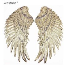 1 Pair Fashion Large Sequins Wing Patch for Clothing Applique Jeans DIY Accessories Cute Sew on Feather Patches 35cm x 16.5cm