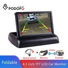 Podofo – moniteur de voiture LCD TFT 4.3 pouces, moniteur pliable, caméra de recul, système de stationnement pour voiture, NTSC PAL